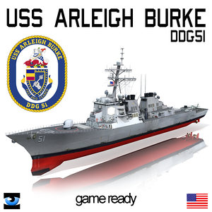 3d model uss arleigh burke dd