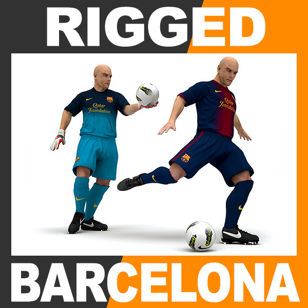 rigged football player - 3d model