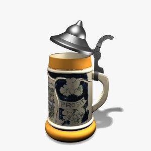 german beer mug 3d obj