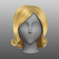 hair mesh stylized blonde 3d obj