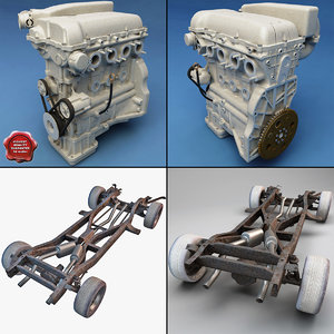 car chassis engine 3d model
