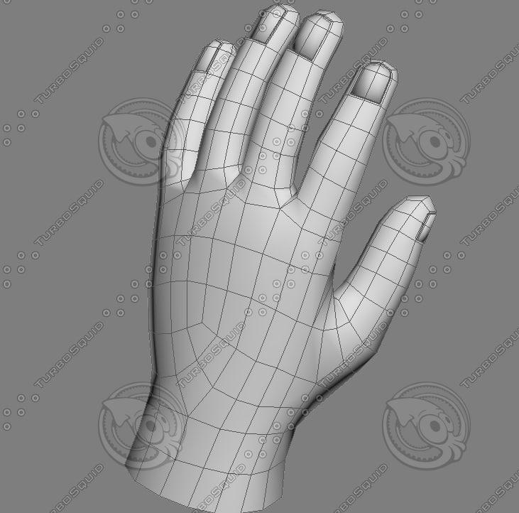quad base hand 3d model