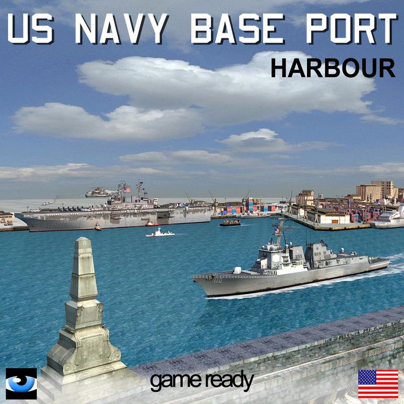 navy base port scenario 3d model