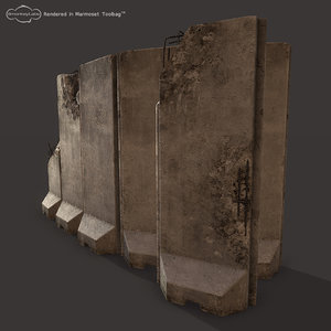 3d concrete barriers military walls