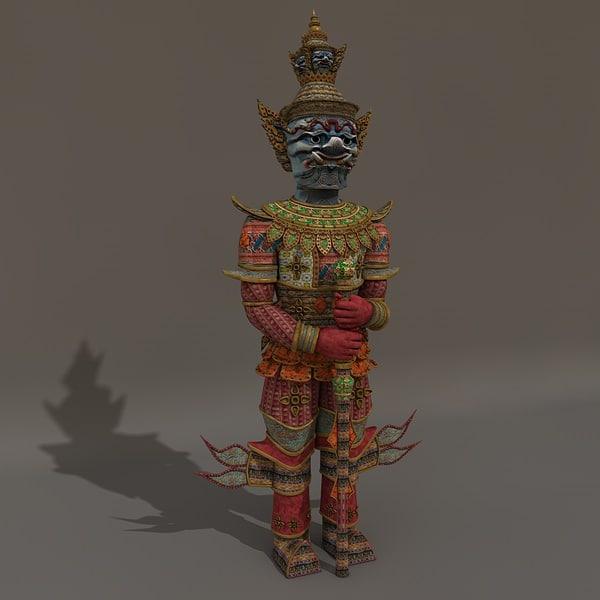 c4d thai culture statue