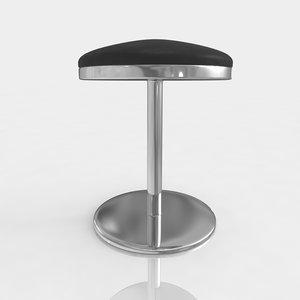 bar stool leather 3d model