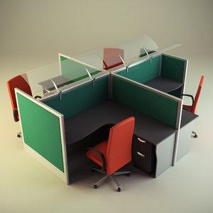 3d cubicle workstation model