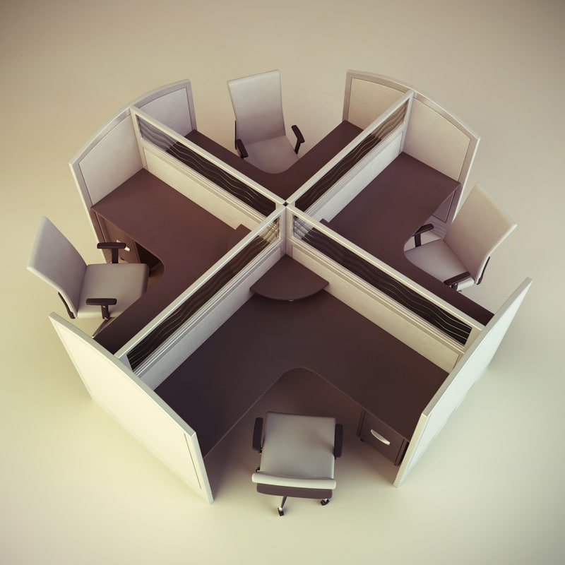 cubicle workstation 9 3d model