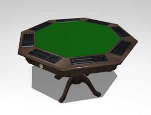 3d model card poker table
