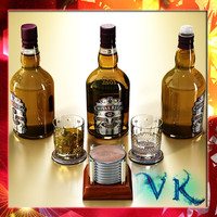 Chivas Regal Bottle, Glass and Coasters Collection.