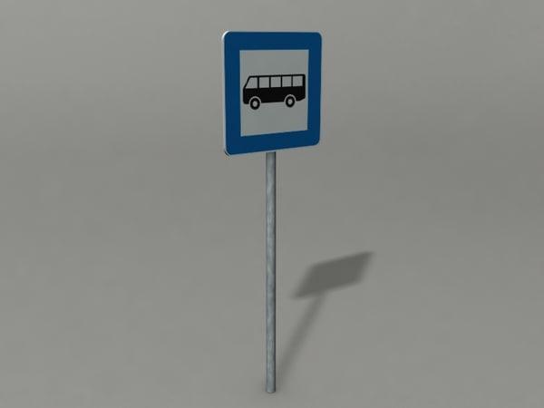 3d bus stop sign model