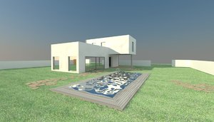 villa modern 3d max