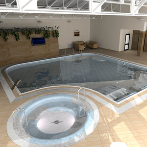 3d interior swimming pool
