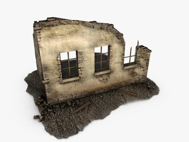 3d model of ruins games uv