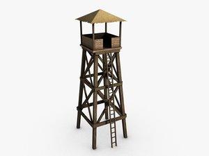wooden watchtower 3d 3ds