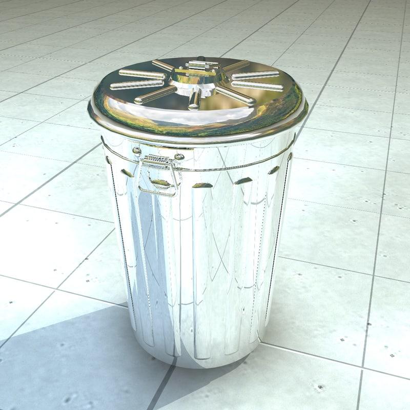 3ds max trash trashcan metal