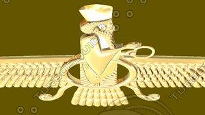 3d symbol ancient iran model