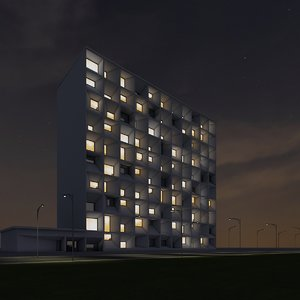 3dsmax new skyscraper 56 night