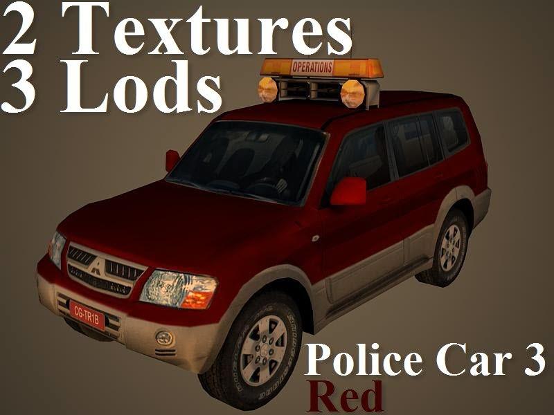 police car 3 red 3d model