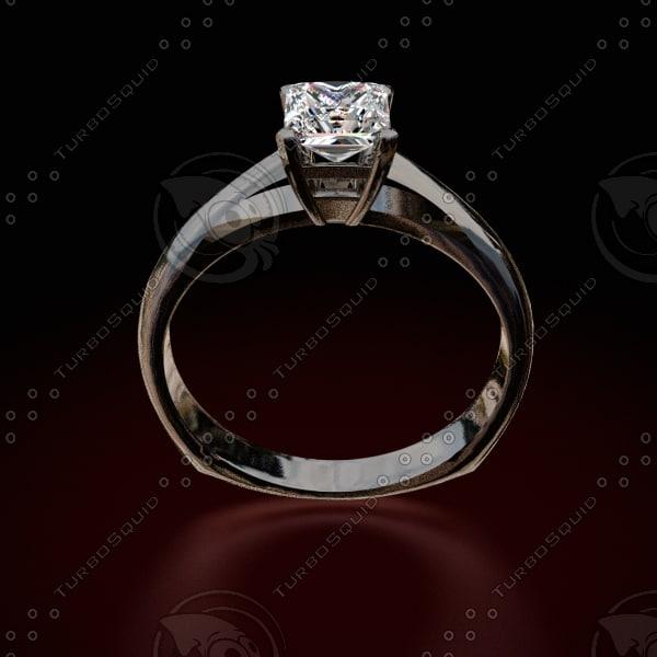 princess cut diamond ring 3d model