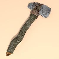 ancient prehistoric stone axe 3d c4d