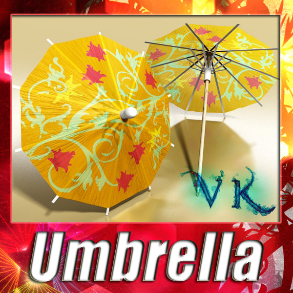 3d cocktail umbrella model
