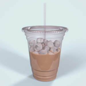 3d obj plastic iced coffee cup
