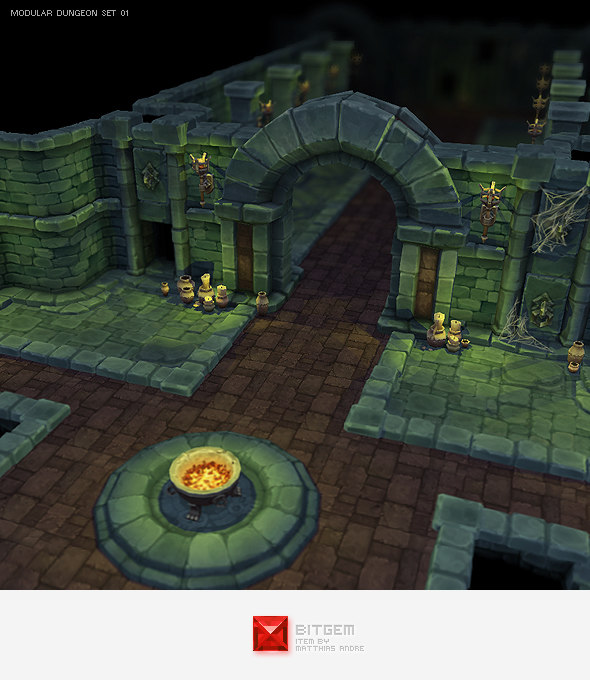 3d hand painted dungeon starter