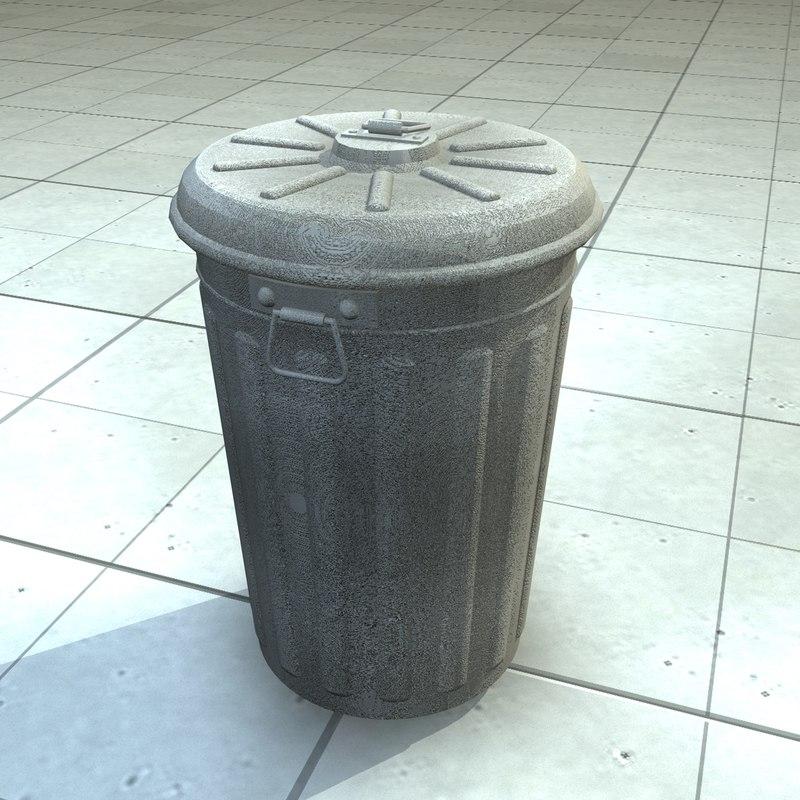 3d trashcan trash bin model