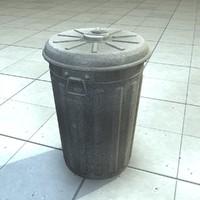 Old Metal Trashcan Bin
