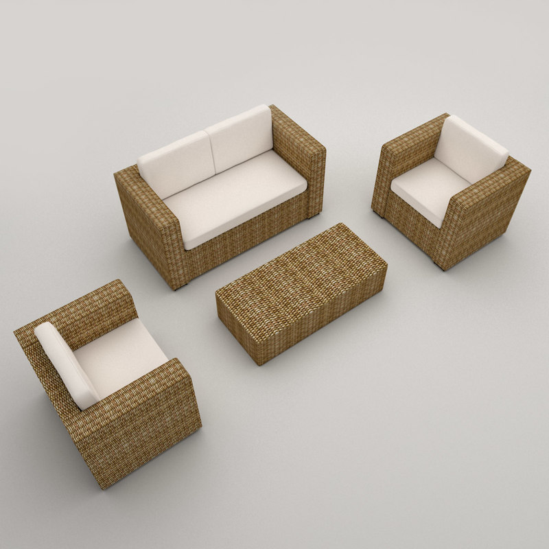 rattan armchairs sofa modeled 3d model