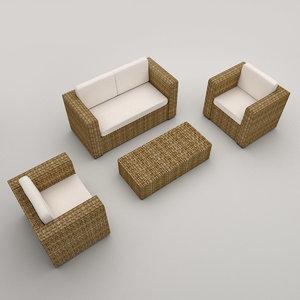 rattan armchairs sofa modeled 3d model