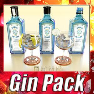 bombay sapphire gin 3d model