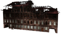 burned house ruined 3d ma