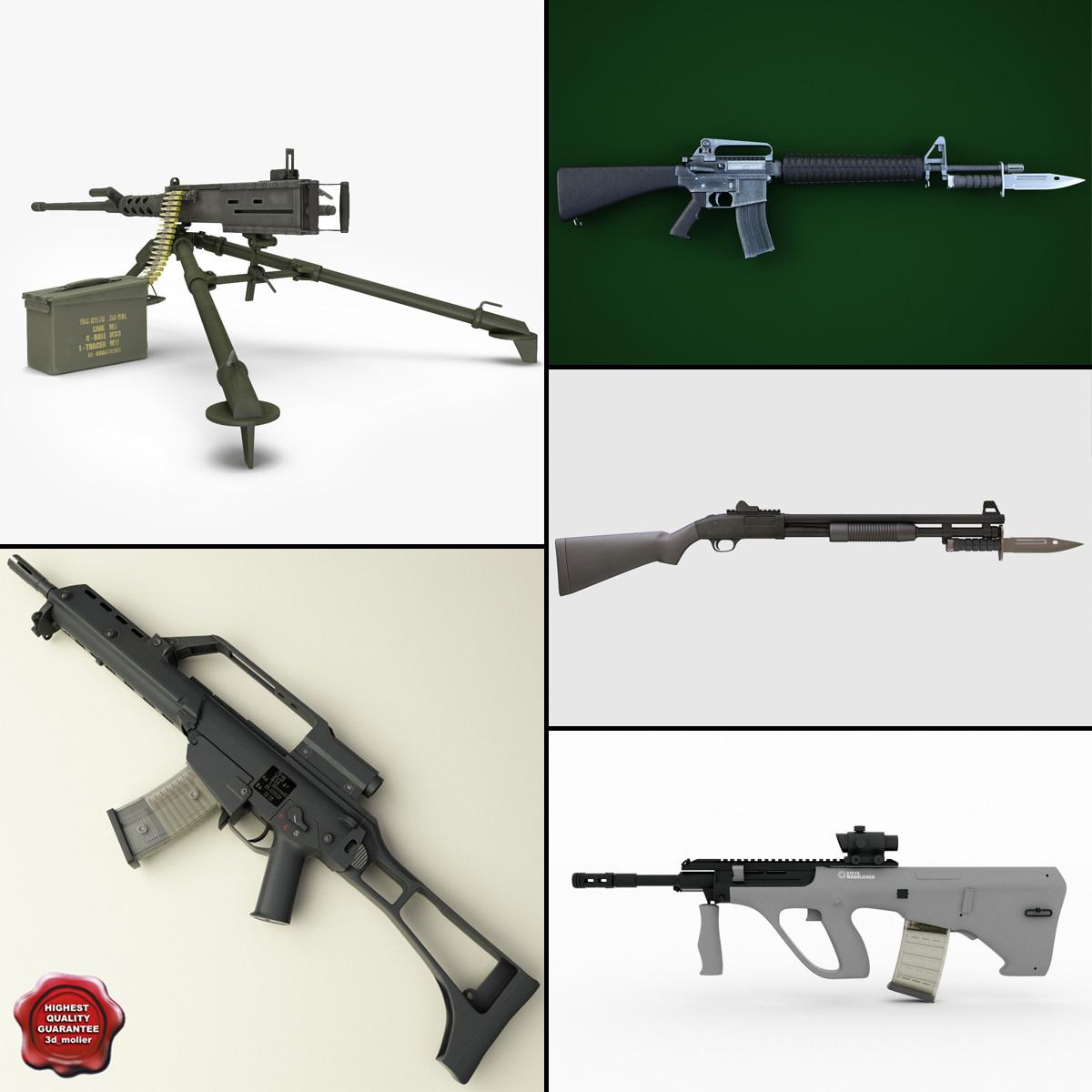 machine guns 6 3d model