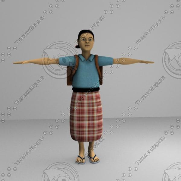 3d model school girl