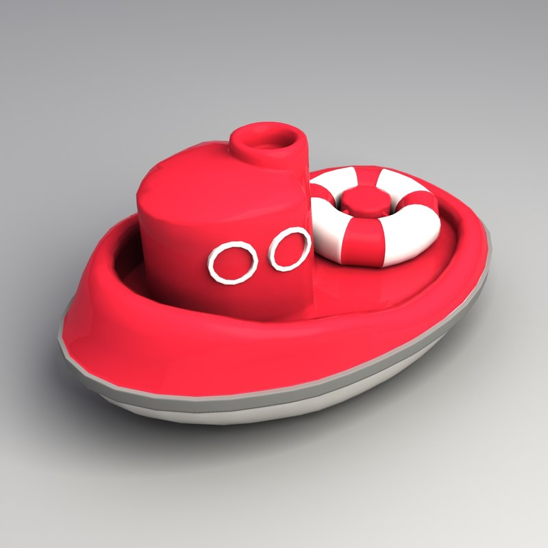 3ds max toy plastic tug boat