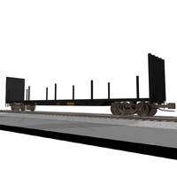 Railroad / Train Car: Flatbed: C4D Format