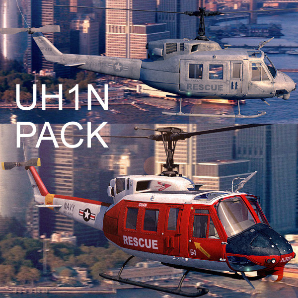 3d model uh1n helicopters