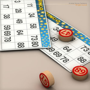 bingo card numbers 3d model