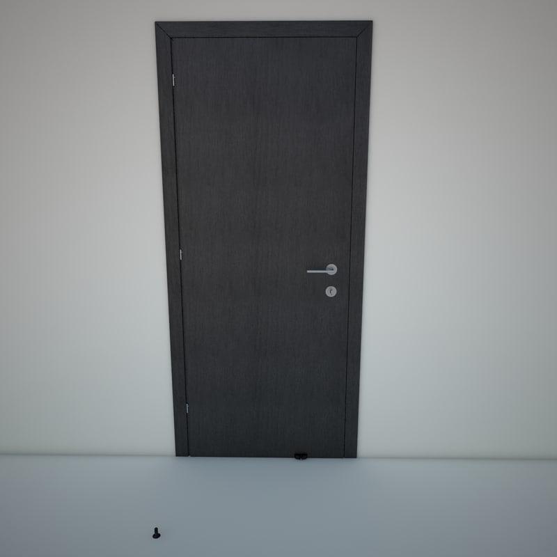 3d interior door wood black