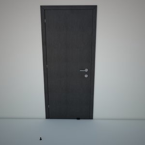3d interior door wood black