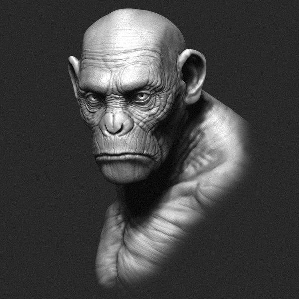 printable ape bust sculpture 3d model