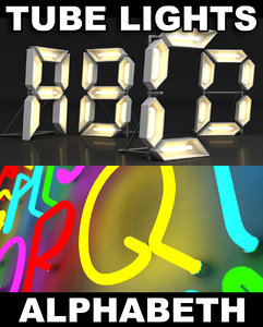 letters neon lights tube 3d max