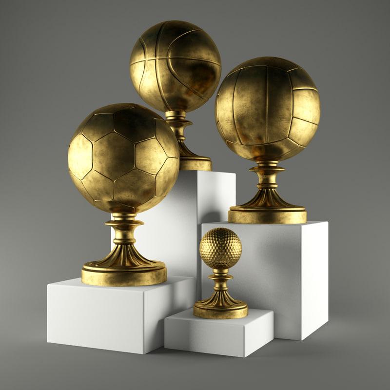 3d model sports football basketball