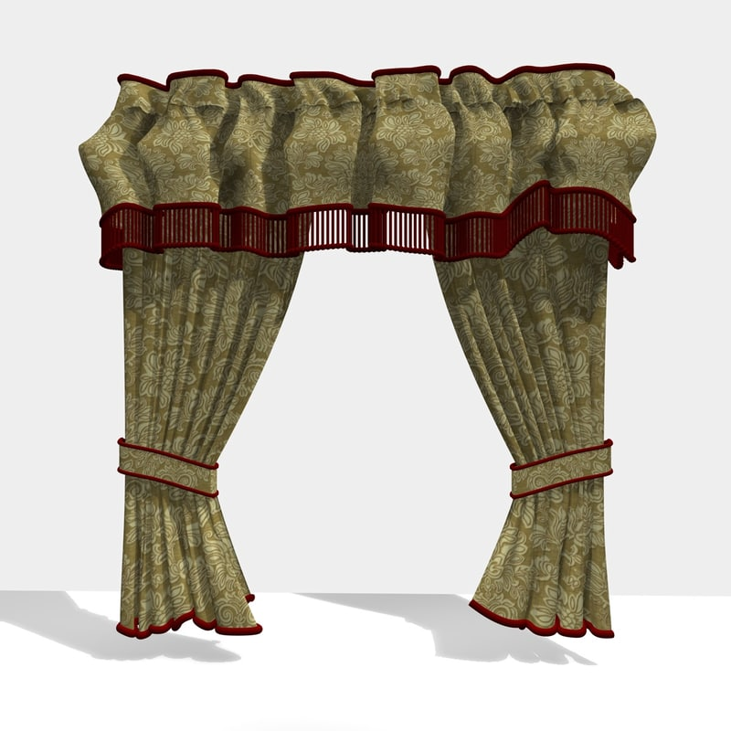 3d model traditional curtain 24
