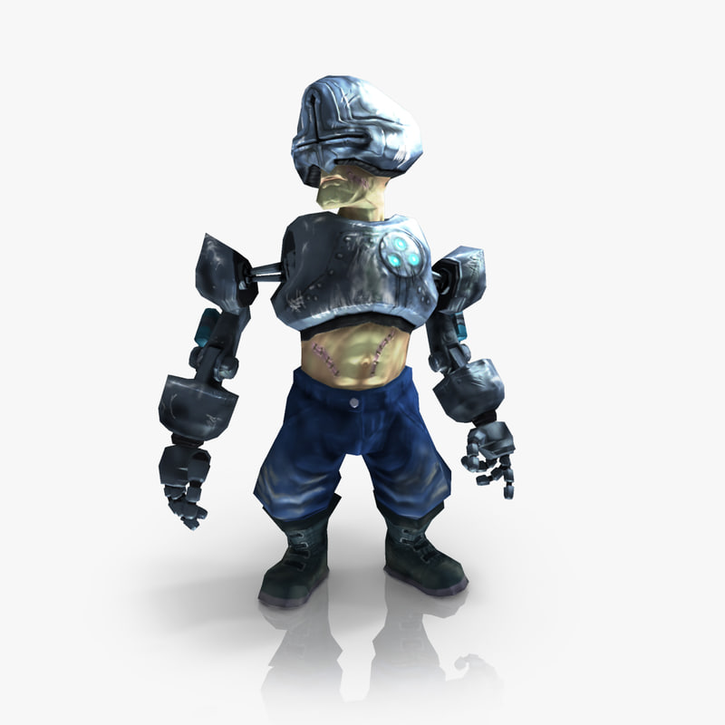 cyborg character rigged animate 3d model