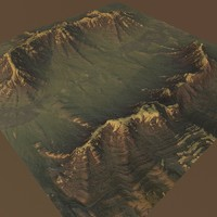 3d mountain terrain model