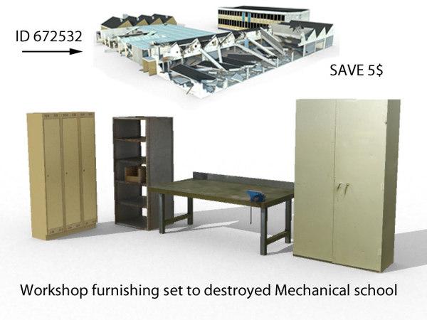 set workshop furnishing 3d model