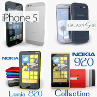 Smartphone collection of iPhone 5, Samsung Galaxy S3, Nokia Lumia 920, Nokia Lumia 820
